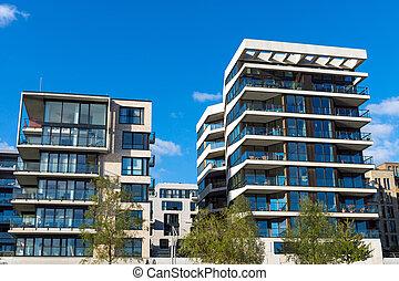 Two modern apartment houses seen in Hamburg