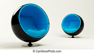 Two modern blue cocoon ball chairs