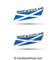 Two modern colored vector Scottish flags isolated on white background, flag of Scotland, Scottish ribbons, Made in Scotland