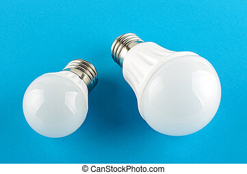 Two modern LED light bulbs incandes