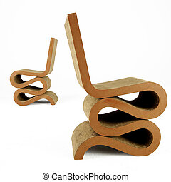 two modern style cardboard wiggle chairs isolated on white