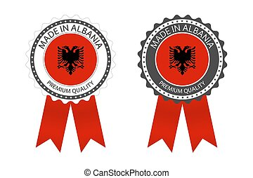 Two modern vector Made in Albania labels isolated on white background, simple stickers in Albanian colors, premium quality stamp design, flag of Albania