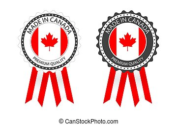 Two modern vector Made in Canada labels isolated on white background, simple stickers in Canadian colors, premium quality stamp design, flag of Canada