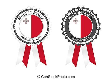 Two modern vector Made in Malta labels isolated on white background, simple stickers in Maltese colors, premium quality stamp design, flag of Malta