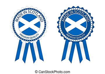 Two modern vector Made in Scotland labels isolated on white background, simple stickers in Scottish colors, premium quality stamp design, flag of Scotland