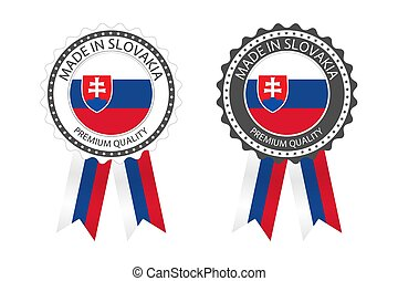 Two modern vector Made in Slovakia labels isolated on white background, simple stickers in Slovak colors, premium quality stamp design, flag of Slovakia