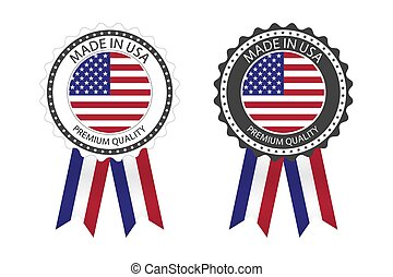 Two modern vector Made in USA labels isolated on white background, simple stickers in American colors, premium quality stamp design, flag of USA