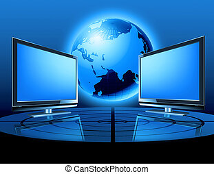 two monitors with globe - two monitors with earth globe ,...