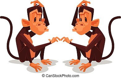Two monkey look at each other. Vector flat cartoon...