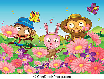 Two monkeys and a bunny in the garden