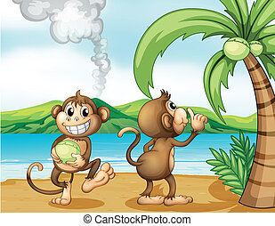 Two monkeys at the beach - Illustration of two monkeys at...