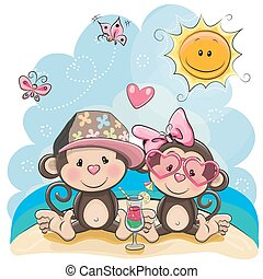 Two Monkeys on the beach