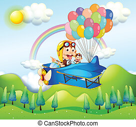 Two monkeys riding in a plane with colorful balloons
