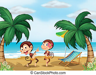 Two monkeys wearing a hawaiian attire - Illustration of the...