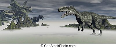two monolophosaurus dinosaur which are in confrontation the...