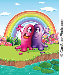 Two monsters at the riverbank with a rainbow in the sky