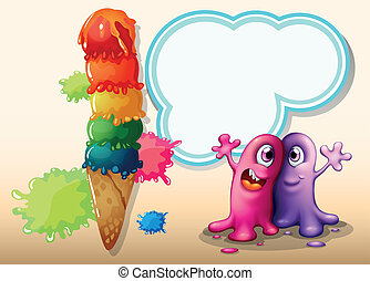 Two monsters near the giant ice cream - Illustration of the...