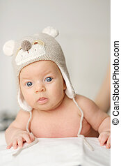 Two months old baby in funny hat - Two months old newborn...