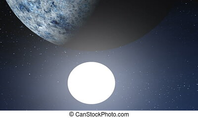 Two Moons - At night the starry sky a huge planet,...