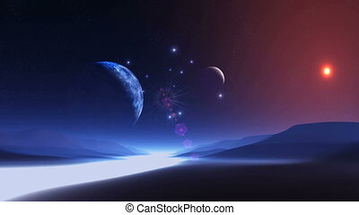Two Moons over Alien Planet