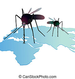 Two mosquitos sucking out natural resources on the world`s map