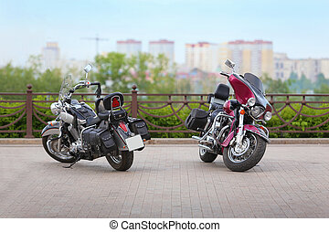 two motorcycles on parking