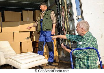 Two mover load van with furniture boxes - Two male movers ...