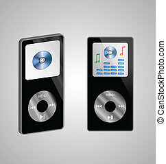two MP3 players - Abstraction of two MP3 players on a gray...
