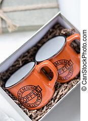 Two mugs in a gift box. Coffee buddies.