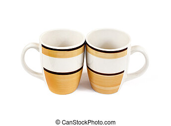Two mugs isolated on white background with clipping path