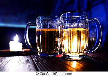 Two mugs of beer