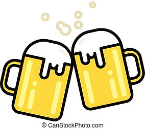 Two mugs of beer. Vector illustration. Flat line design.