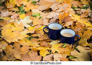 two mugs of hot coffee