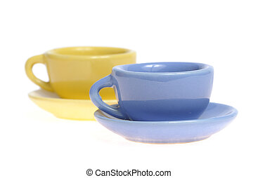 Two mugs with saucer