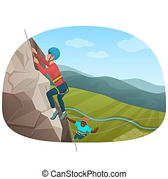 Two multi ethnic climbers climbing on the rock vector illustration.