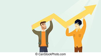 Two multiracial businessmen holding growth graph.
