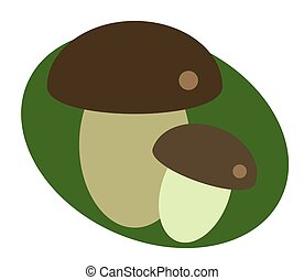 Two mushrooms on a green background.