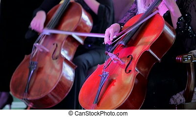 Two Musicians Playing Cello At Concert - CLOSE UP SHOT of...