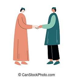 Two muslim men standing and greeting each other vector illustration