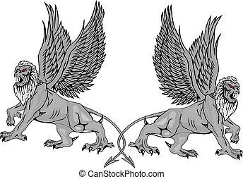 Two mythological griffins on a white background. Vector