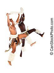 african tribal man performing - two native african tribal...