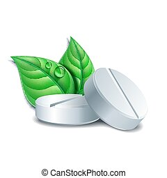 Two natural medical pills with green leaves. Pharmaceutical vector symbol with leaf for pharmastore