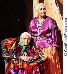 Navajo Wise Elderly Women Outdoors - Two Navajo Wise Elderly...
