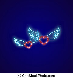 Two neon hearts with wings on a blue background