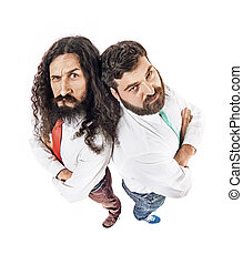Two nerdy guys posing in office