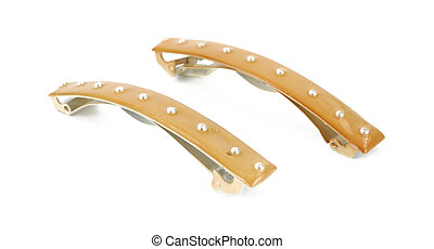 Two closed hair barrettes on a white background.