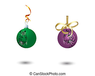 Two New Year\'s balls.Vector illustration