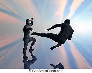 Two ninja in fight 2. - Two ninja with traditional black...