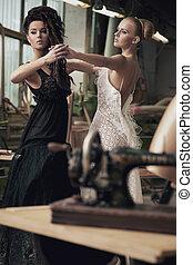 Two nostalgic women dancing