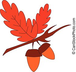 Two oak nuts with red leaves on branch  print  vector on white background